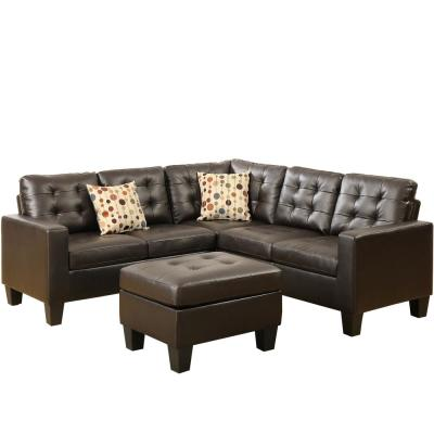 Milan 4-Piece Espresso Faux Leather 6-Seater L-Shaped Modular Sectional Sofa with Ottoman