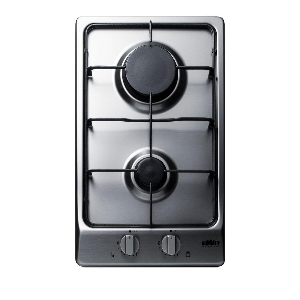 Summit Appliance 12 in. Gas Cooktop in Stainless Steel with 2 Burners