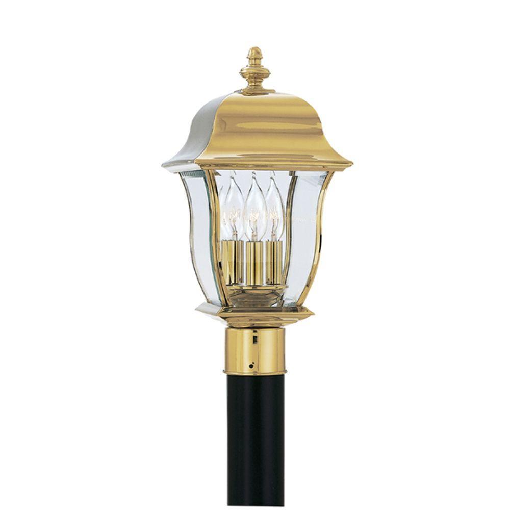 Oak Harbor 3-Light Polished Brass Outdoor Post Lantern