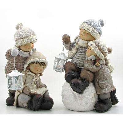 Tushkas Playing In The Snow with Lanterns Set of 2