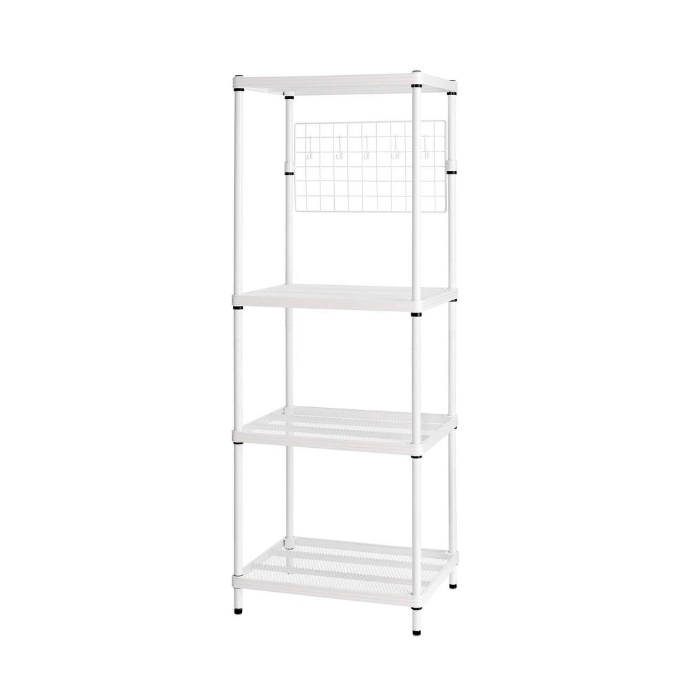 MeshWorks 4-Shelf Metal White Freestanding Utility Grid Unit