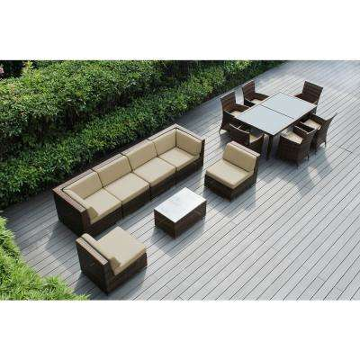 Mixed Brown 14-Piece Wicker Patio Combo Conversation Set with Sunbrella Antique Beige Cushions