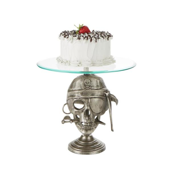 Mind Reader 21 in. Tier Silver Metal Cake Stand Party Cake Display, Cupcake Display