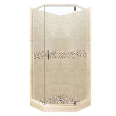 Roma Grand Hinged 36 in. x 42 in. x 80 in. Left-Cut Neo-Angle Shower Kit in Brown Sugar and Satin Nickel Hardware