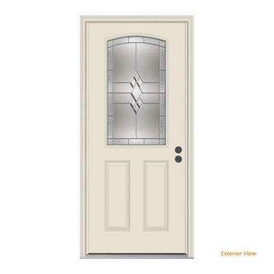 36 in. x 80 in. 1/2 Lite Kingston Primed Steel Prehung Left-Hand Inswing Front Door w/Brickmould