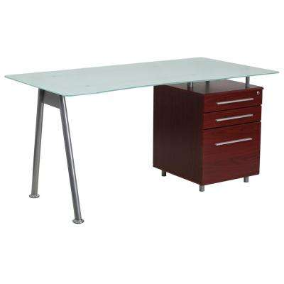 Glass Computer Desk with Mahogany 3 Drawer Pedestal