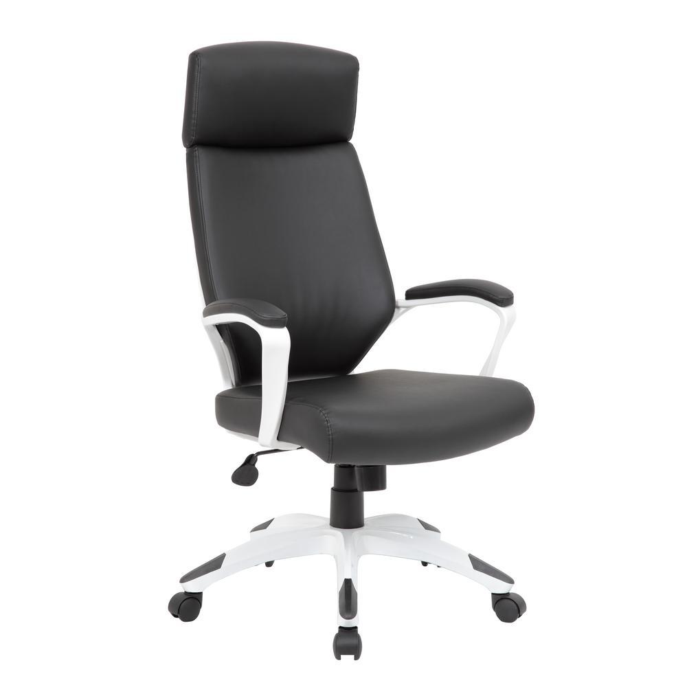 Boss Black/White Trooper Executive Chair B7883W-BK