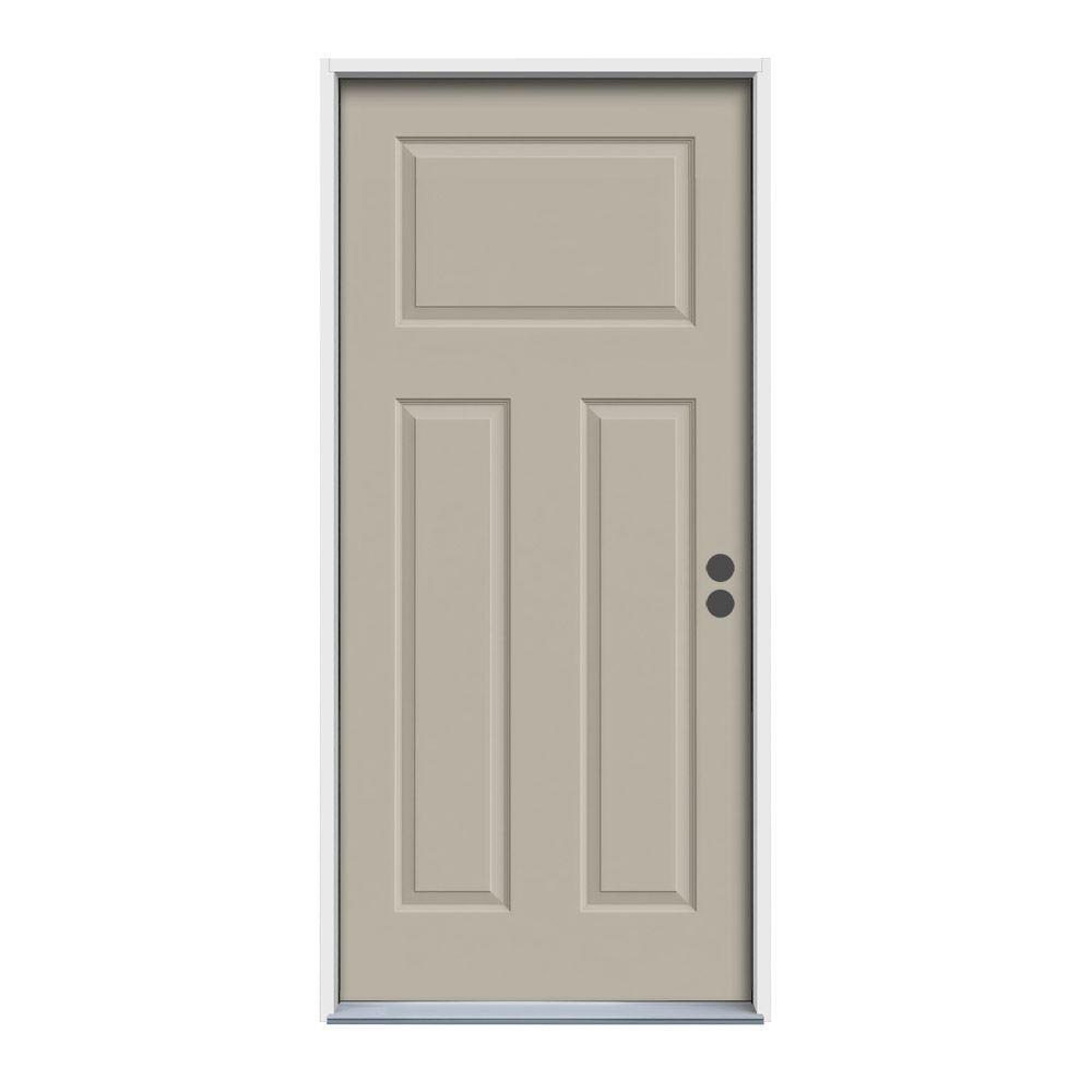 36 in. x 80 in. 3-Panel Craftsman Desert Sand Painted Steel Prehung Left-Hand Inswing Front Door w/Brickmould