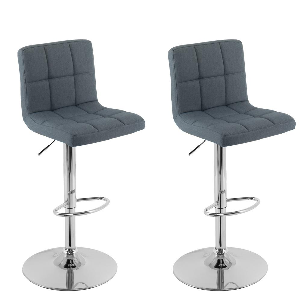 Adjustable Height Blue-Grey Mid-Back Square Panel Fabric Bar Stool (Set of