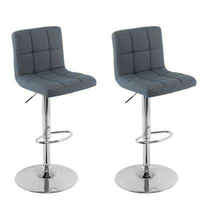 Adjustable Height Blue-Grey Mid-Back Square Panel Fabric Bar Stool (Set of 2)