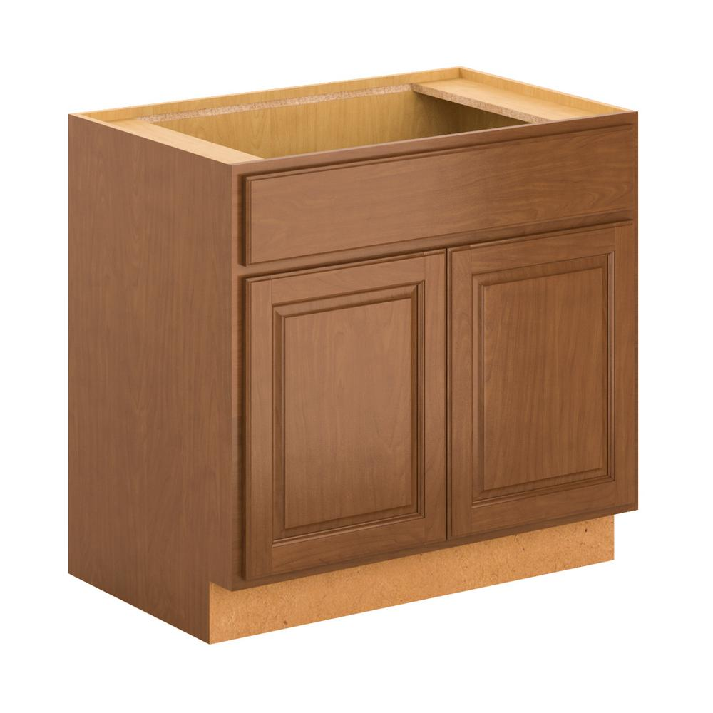 Madison Assembled 36x34.5x24 in. Sink Base Cabinet in Cognac