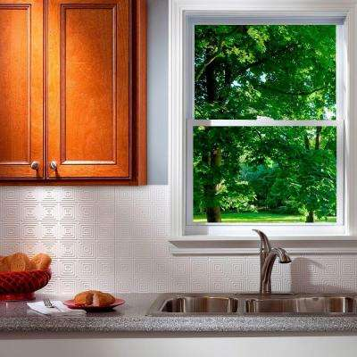 24 in. x 18 in. Miniquattro PVC Decorative Backsplash Panel in Gloss White