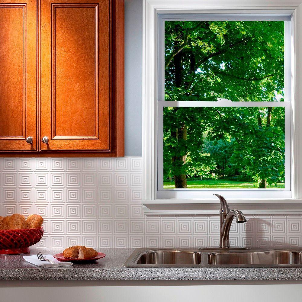 24 in. x 18 in. Miniquattro PVC Decorative Backsplash Panel in Gloss White