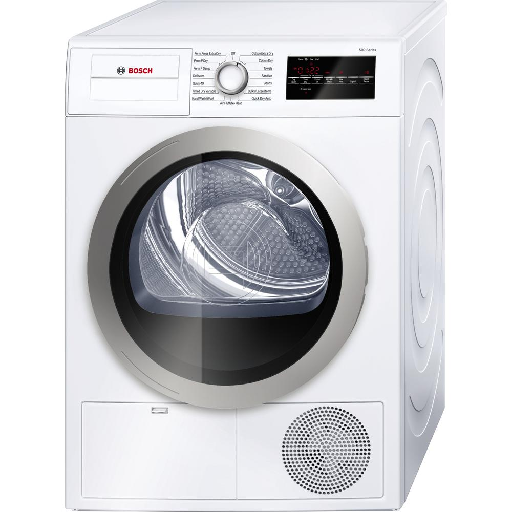 Bosch 500 Series 24 In  4 Cu  Ft  White With Silver Accents Electric Condensation Compact Dryer