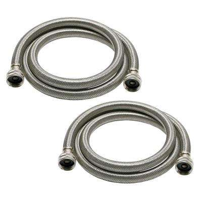 Universal 3/4 in. x 6 ft. Stainless Steel High Efficiency Washing Machine Hose (2-Pack)