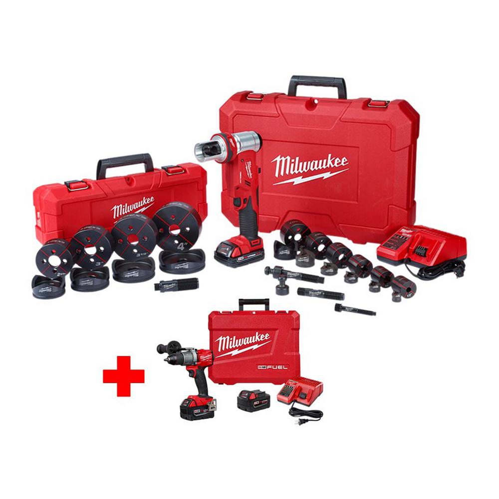 Milwaukee M18 18-Volt Lithium-Ion 1/2 in. - 4 in. Force Logic 6-Ton Cordless Knockout Tool Kit with Free M18 FUEL Hammer Drill Kit
