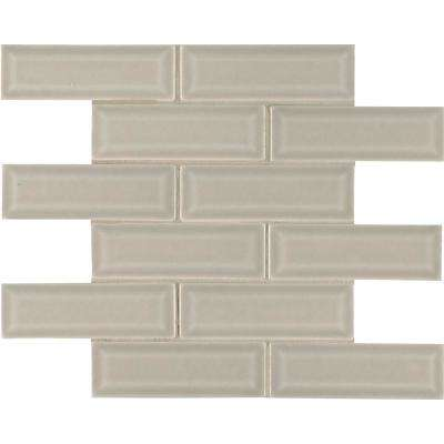 Portico Pearl Beveled 12 in x 12 in. x 10mm Glossy Ceramic Mesh-Mounted Mosaic Tile (10 sq. ft. / case)