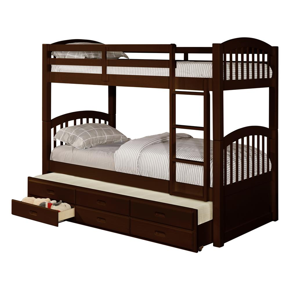 Signature Home Brook Espresso Wood Twin Over Twin Bunk Bed With