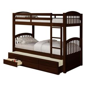 the latest c7534 9d11c Brook Espresso Wood Twin Over Twin Bunk Bed with Trundle and 3-Under Bed  Storage Drawers