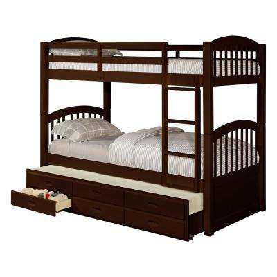 Brook Espresso Wood Twin Over Twin Bunk Bed with Trundle and 3-Under Bed Storage Drawers