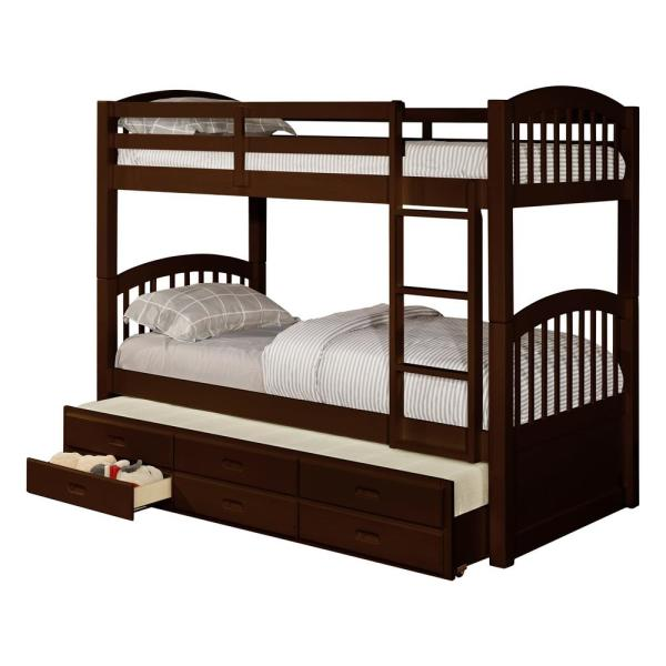 Signature Home Brook Espresso Wood Twin Over Twin Bunk Bed