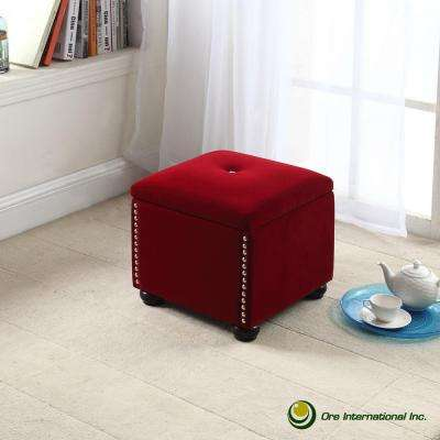 Red Suede Storage Seating