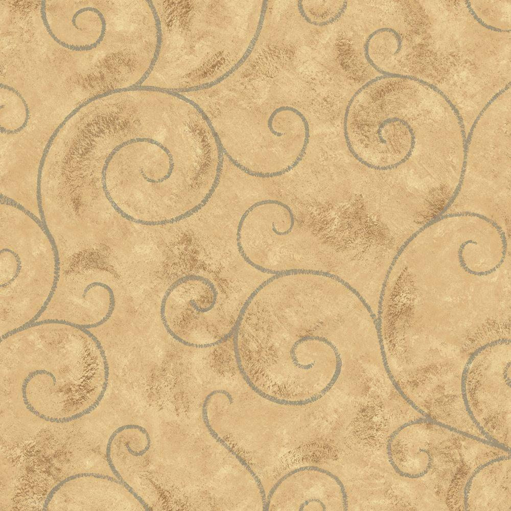 The Wallpaper Company 56 sq. ft. Brown and Blue Scroll Wallpaper