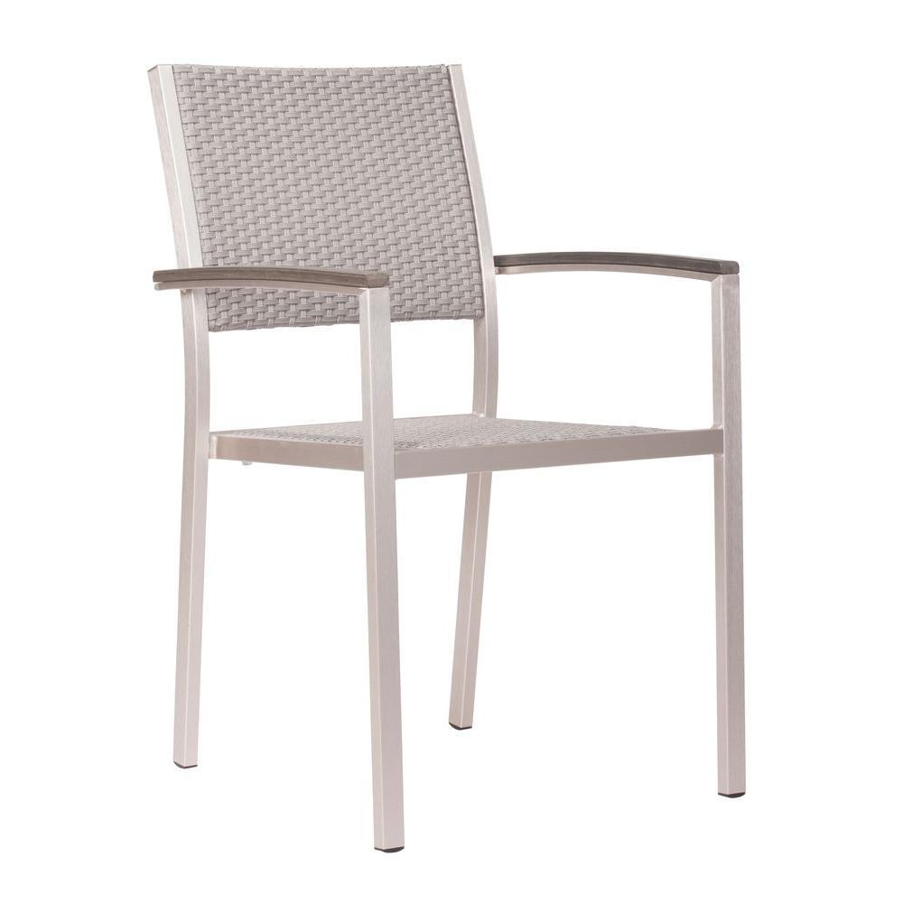 ZUO Metropolitan Brushed Aluminum Patio Armchair