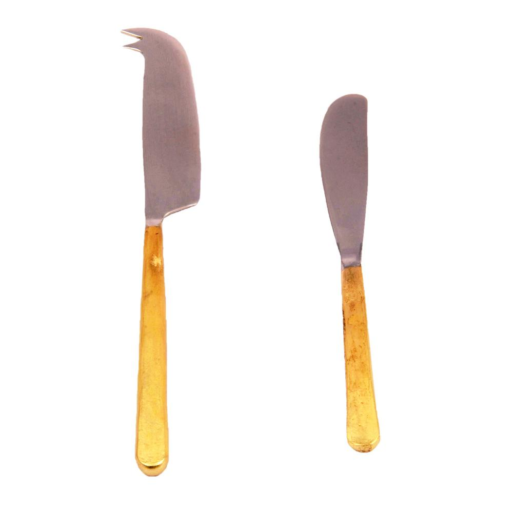Gold Toffee design cheese knife and spreader 2 Piece Set
