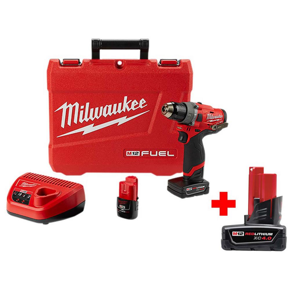 Milwaukee M12 FUEL 12-Volt Lithium-Ion Brushless Cordless 1/2 in. Hammer Drill Kit with Free 4.0 Ah M12 Battery