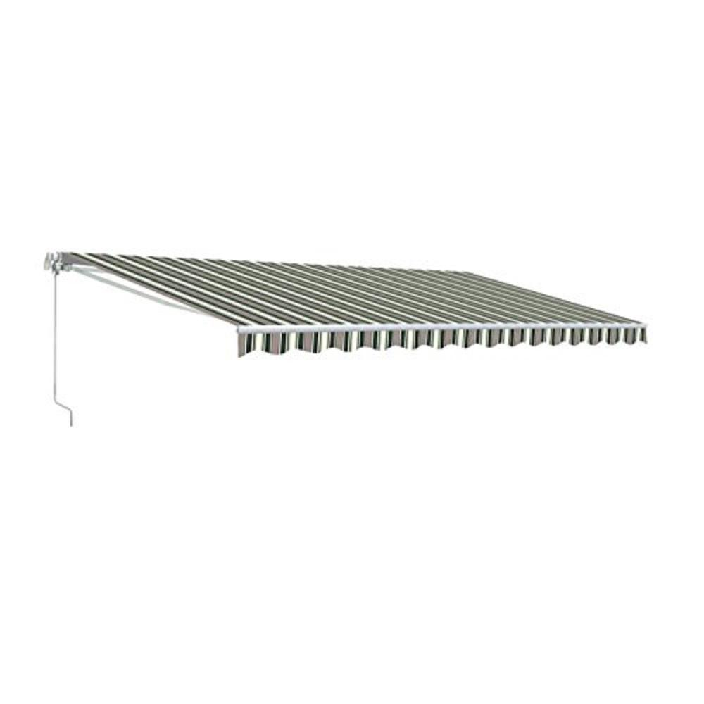 Aleko 20 Ft Motorized Retractable Awning 120 In Projection In Multi Stripe Green Awm20x10mstrgr58 Hd The Home Depot