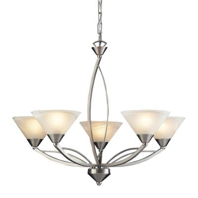 Elysburg 5-Light Satin Nickel Ceiling Mount Chandelier