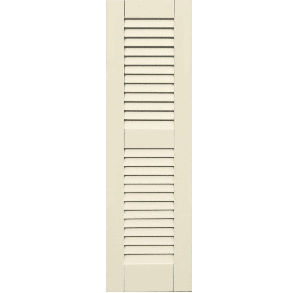 Winworks Wood Composite 12 in. x 41 in. Louvered Shutters Pair #651 Primed/Paintable