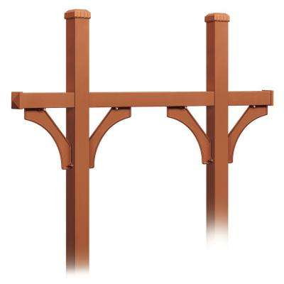 Deluxe In-Ground Mounted Bridge Style Post for 5 Mailboxes, Copper