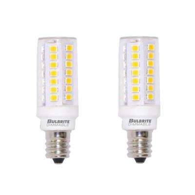 60-Watt Equivalent T6 Dimmable Mini-Candelabra LED Light Bulb Soft White Light (2-Pack)