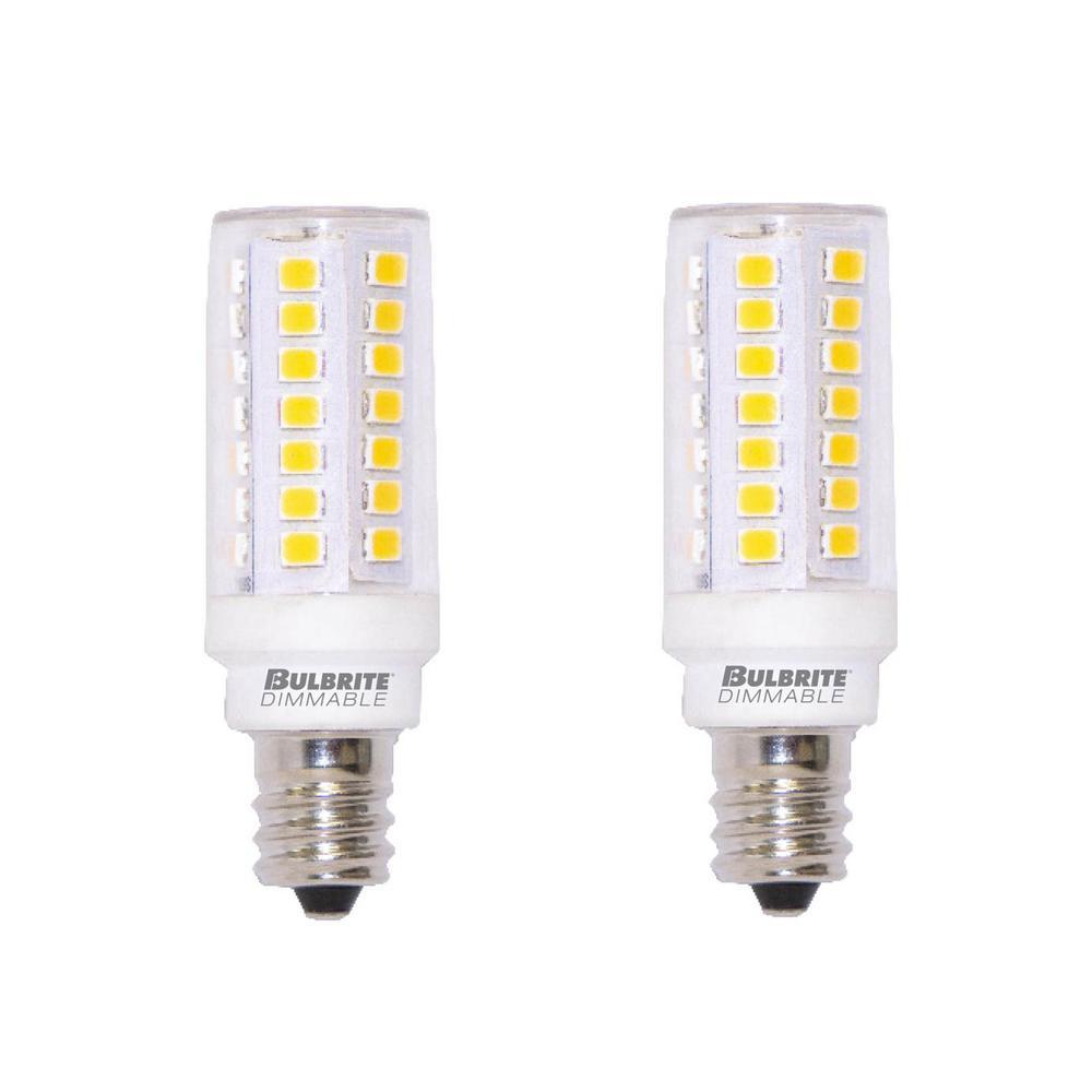 60-Watt Equivalent T6 Dimmable Mini-Candelabra LED Light Bulb Soft White Light (2-Pack)