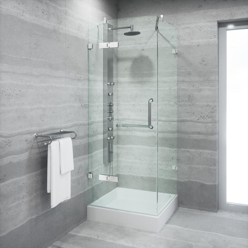 VIGO Monteray 32.375 in. x 79.25 in. Frameless Pivot Shower Enclosure in Chrome and Clear Glass with Base in White