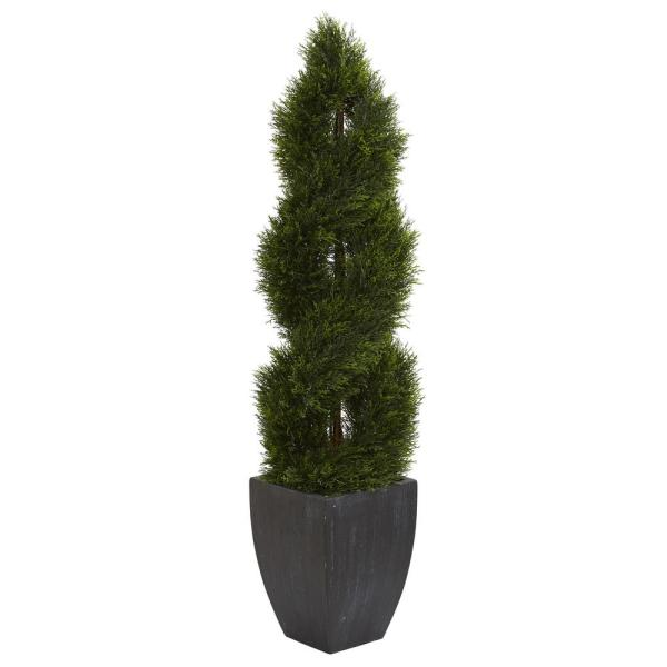 5 ft. High Indoor/Outdoor Double Pond Cypress Spiral Topiary Artificial Tree in Black Wash Planter