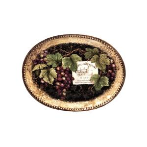 Gilded Wine 16 in. x 12 in. Multi-Colored Ceramic Oval Platter