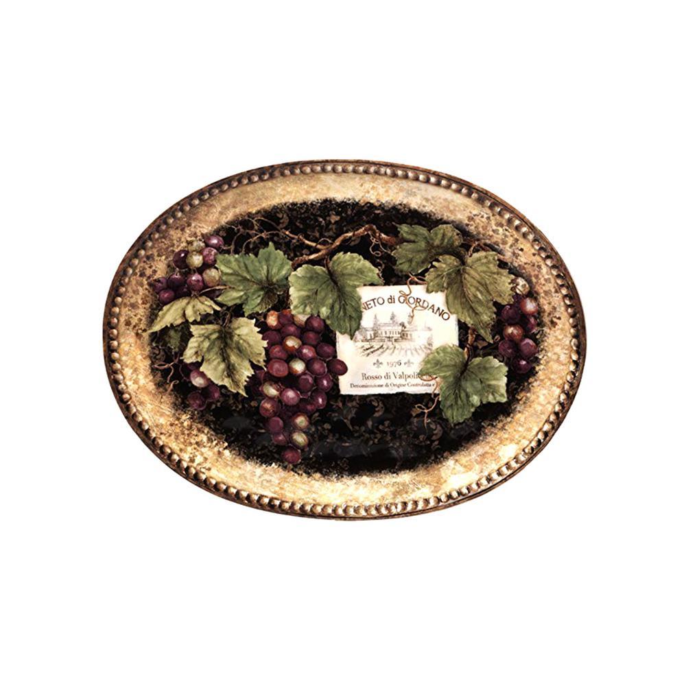 Gilded Wine 16 in. x 12 in. Multi-Colored Ceramic Oval Platter
