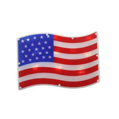 13.25 in. 10-LED Clear Lighted Patriotic 4th of July American Flag Window Silhouette Decor