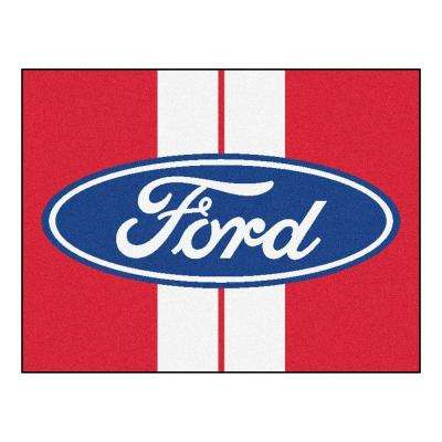 Ford - Oval with Stripes Red 3 ft. x 4 ft. Indoor Rectangle Area Rug