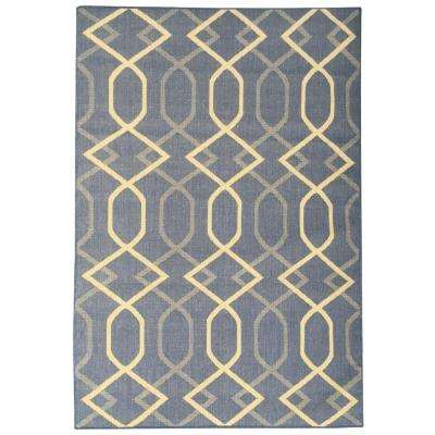 Summer Collection Diamond Trellis Design Natural Blue 5 ft. x 7 ft. Indoor/Outdoor Area Rug