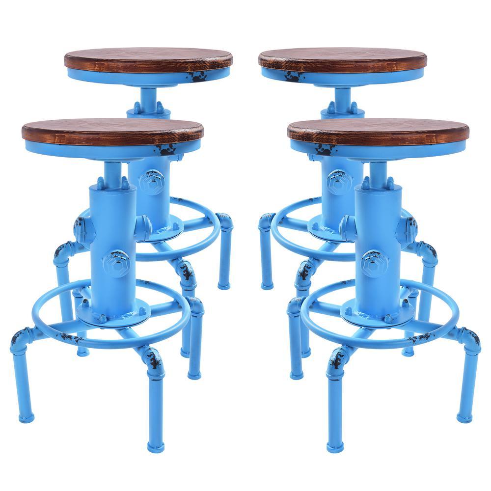 Starship Adjustable Antique Blue Barstool (Set of 4)