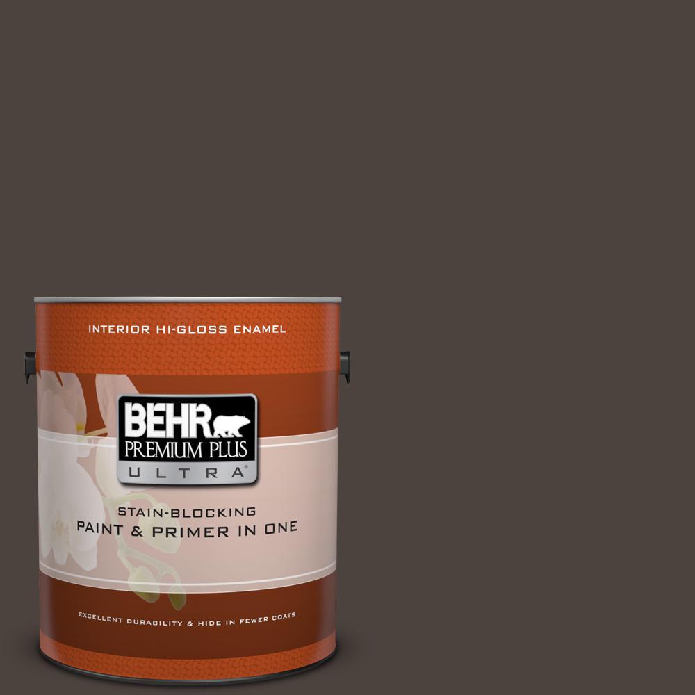1 gal. #N110-7 Black Garnet Hi-Gloss Enamel Interior Paint