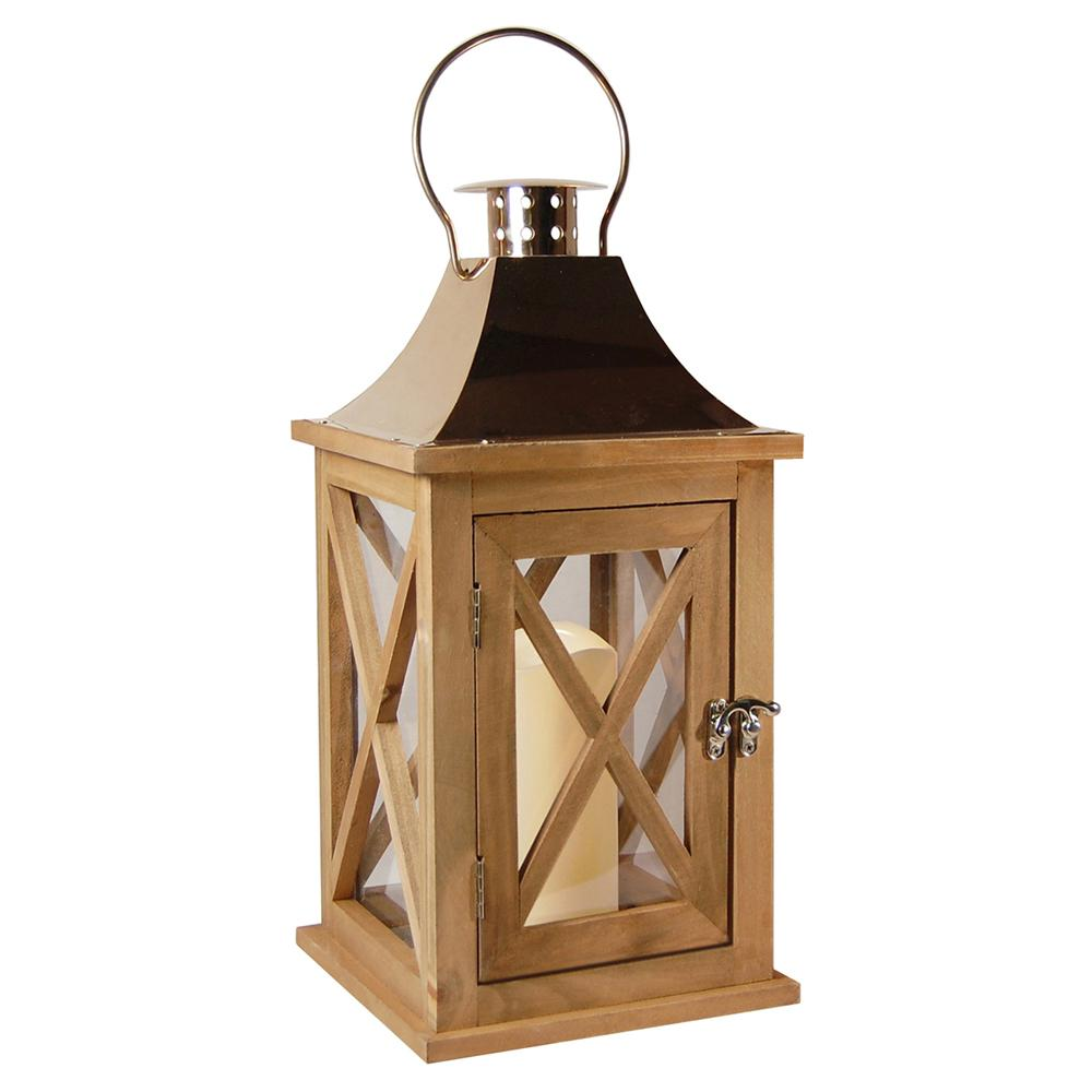 Lumabase Lantern 7.75 in. x 15.5 in. Wooden Lantern Copper Roof with ...