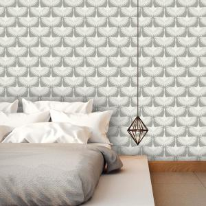 Tempaper Genevieve Gorder Feather Flock Chalk Self-Adhesive Removable Wallpaper by Tempaper