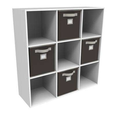 36 in. x 36 in. White Stackable 9-Cube Organizer with 4 Brown Bins