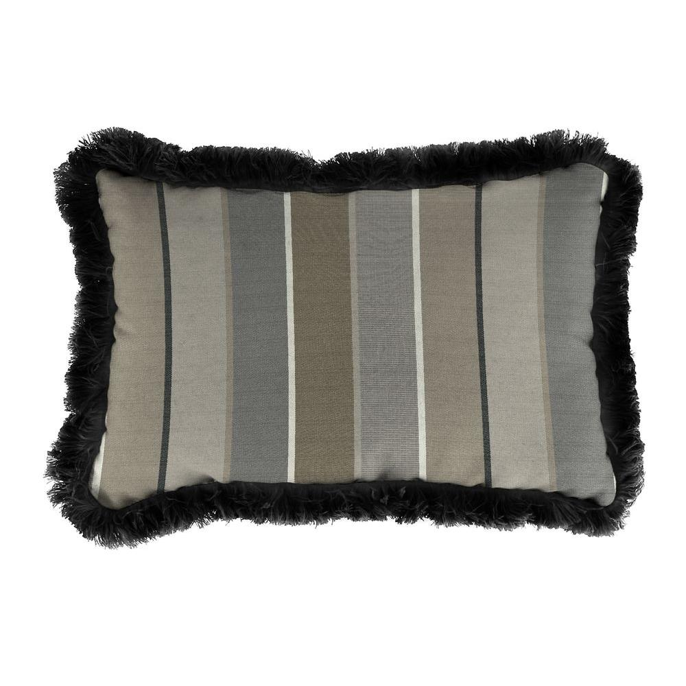Jordan Manufacturing Sunbrella 19 in. x 12 in. Milano Charcoal Outdoor Throw Pillow with Black Fringe