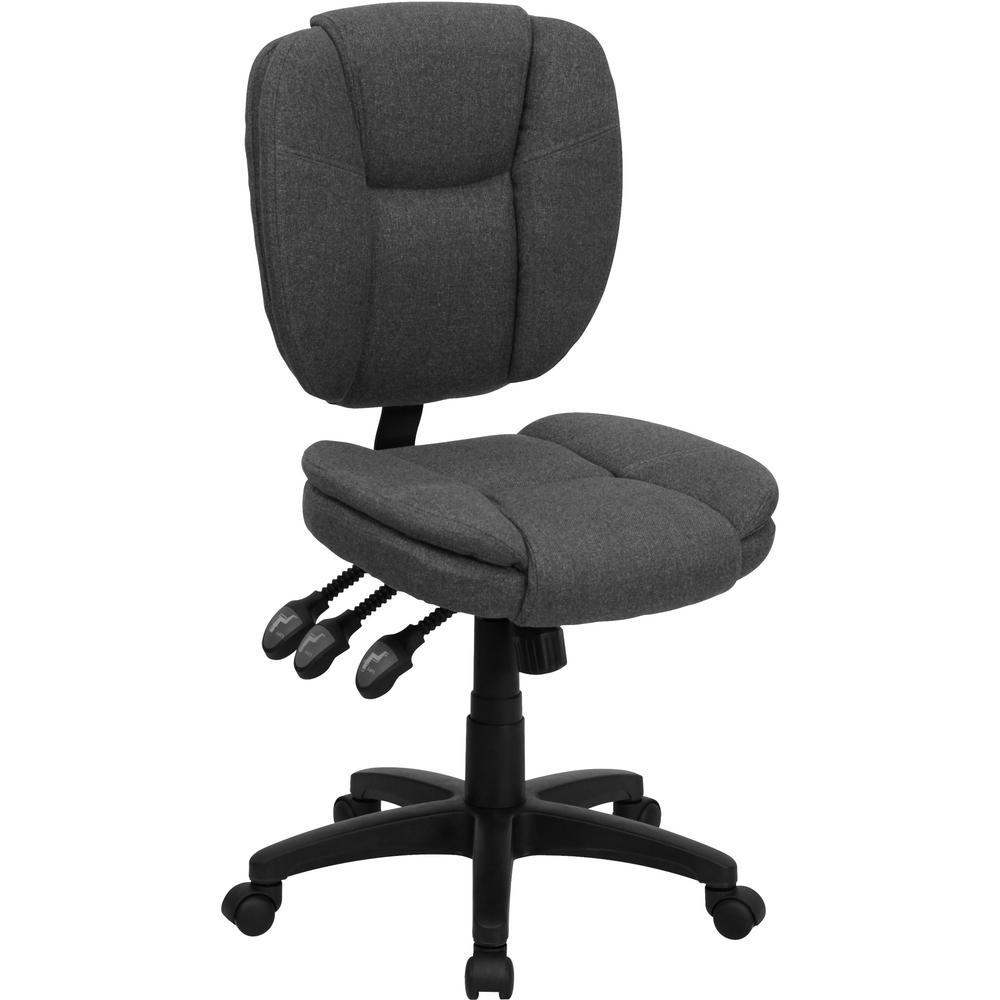 Mid-Back Gray Fabric Multi-Functional Ergonomic Swivel Task Chair